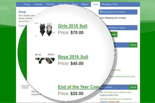 high school swim team management online store