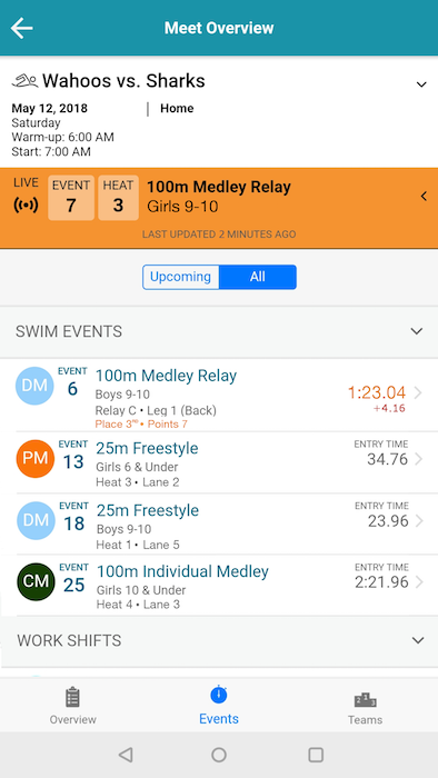 SwimTopia Live Meet with results