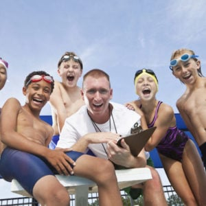 Summer League Swimming - Coach and Kids
